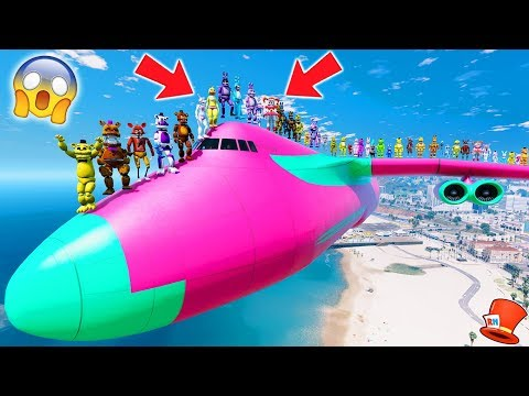 ALL THE ANIMATRONICS ON TOP OF A PLANE! GUESS WHO WILL SURVIVE! (GTA 5 Mods For Kids FNAF RedHatter)