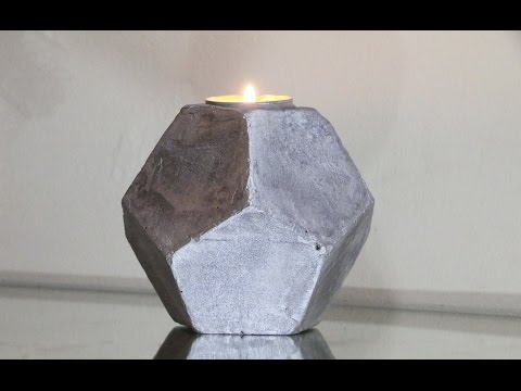 DIY Cement Planters | Cement Geometric Candle Holder! ( Pentagonal Shape)