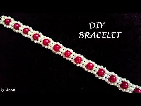 Diy beaded bracelet.  Easy pattern tutorial