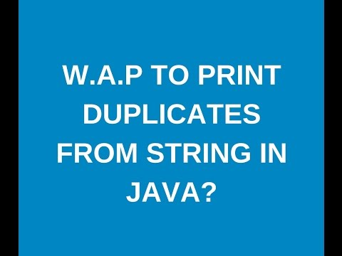 Write a java program to print duplicates from String in java