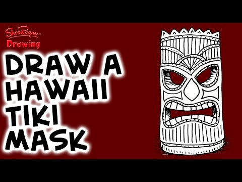 How to draw a Hawaiian Tiki Mask - Easy step-by-step for Beginners