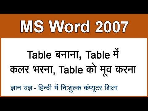 MS Word 2007 Tutorial in Hindi / Urdu : Creating & Moving Table - 9