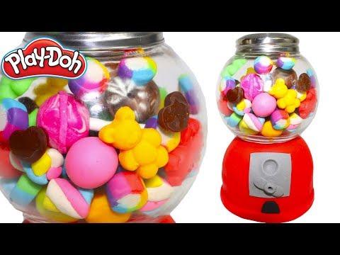 Play Doh Gumbal machine Full of Candys Jewelry Ice Cream Frozen High Heels and Rainbow Ice Cream