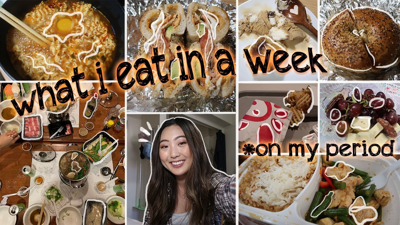 WHAT I EAT IN A WEEK *ON MY PERIOD* (Realistic) | Huge Cheat Day (Cookies, Candy, Calzones)