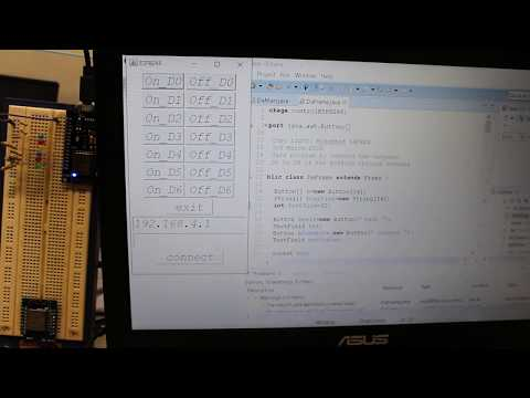 Tutorial, controlling ESP8266 (nodemcu) from wifi using Java sockets.
