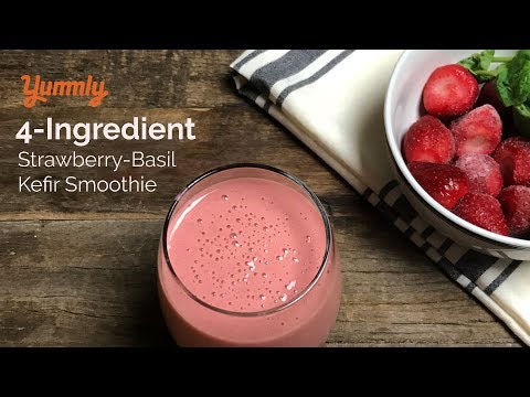 Strawberry Basil Kefir Smoothie