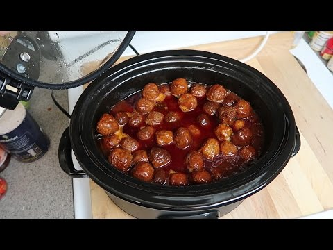 Easy Crock-pot Grape Jelly BBQ Meatballs - Easy Party Appetizer Recipe