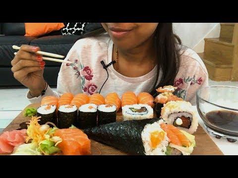 Salmon Sushi and Sashimi Platter ASMR   Eating Sounds   No Talking