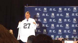 Giancarlo Stanton is introduced as a member of the New York Yankeea