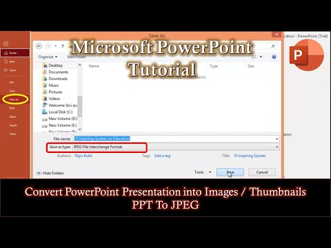Convert PPT To JPEG | How to Convert PowerPoint 2016 Presentation into JPG