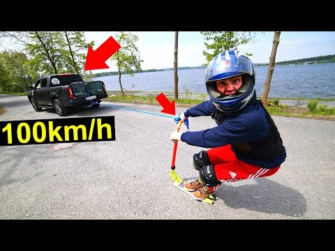 TOP SPEED ON SCOOTER PULLED BY TRUCK! *100km/h*