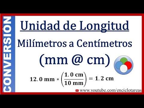 Convertir de Milimetros a Centímetros (mm a cm)