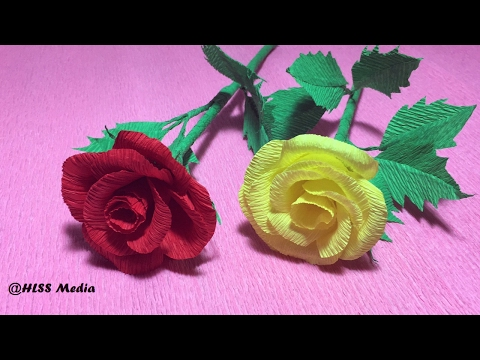 How To Make Rose crepe paper wedding flowers/DIY  Roses Flower/origami Roses Crafts tutorials