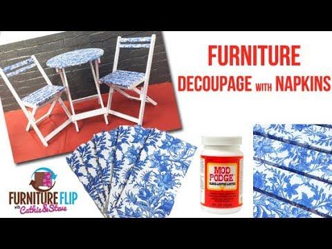 Furniture Flip - Napkin Decoupage on Patio Furniture