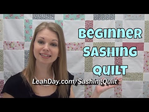 Easy, Beginner Sashing Splendor Patchwork Quilt Pattern and Tutorial with Leah Day
