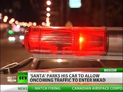 Traffic Santa: Brave man battles jammed Moscow roads
