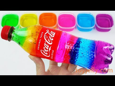 DIY How To Make Rainbow Coca Cola Bottle with Slime Clay Jelly Learn Colors Baby Toys Fun for Kids