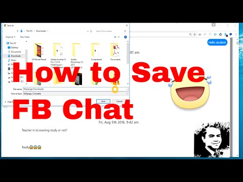 How To Save All Facebook Chat  (2017) (New) | Save In Computer