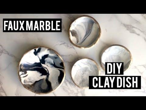 DIY FAUX MARBLE DISH | CLAY RING DISH DIY (EASY!!)