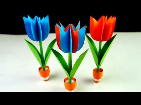 How to Make Flower with Color Paper - Small Paper Flower Pot  - Easy origami