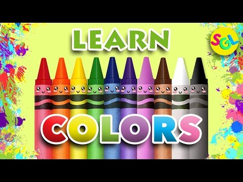 Learn Colors Video for Kids Toddler Pre K - Crayons Balloons Ice Cream Rainbow Colors Kawaii SGL