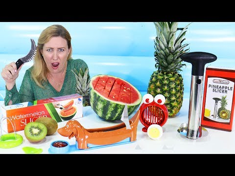 TESTING WEIRD KITCHEN SLICERS - Watermelon, Pineapple.. Hot Dog?