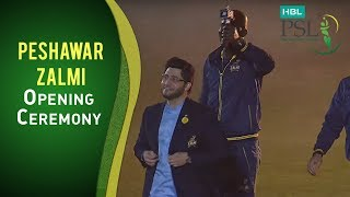 Peshawar Zalmi walk in and the crowd cheers get louder