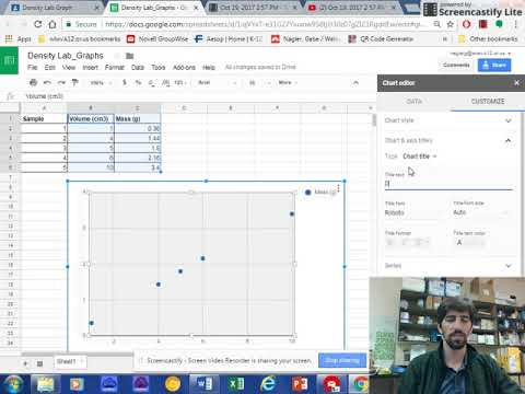 Density Lab: How to add title and axis labels in google sheets