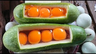 Awesome Beautiful Girl Cooking Egg And Pork Inside Wax Gourd In Cambodia