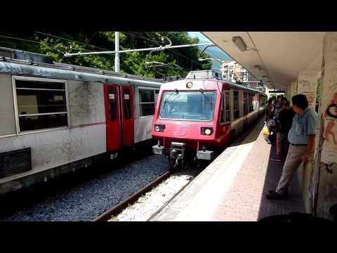 Circumvesuviana Train coming into the Castellammare di Stabia Station
