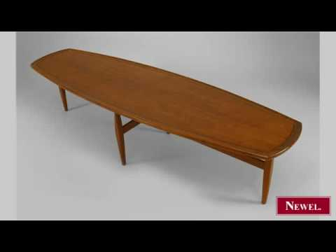 Antique Danish 1960s walnut coffee table with a narrow