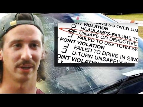 MAN TICKETED FOR BROKEN WINDSHIELD IN AUTO SHOP PARKING LOT