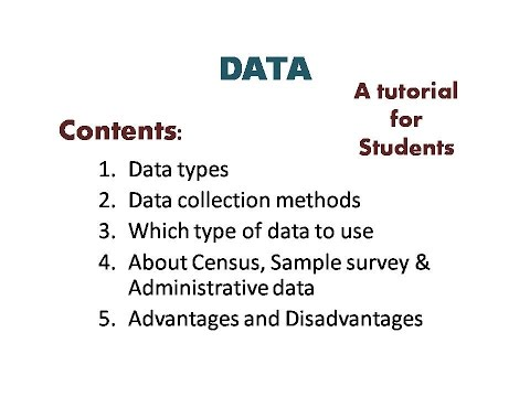 Data | Data types | Primary data | Secondary data | Census, Sample & Administrative data | Census