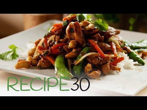 Chicken Thai stir fry with cashews and sugar snap peas
