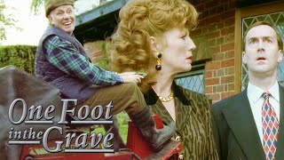 Victor Crashes A Lawnmower Whilst Under The Influence | One Foot In The Grave | BBC Comedy Greats