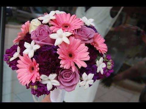 Purple Gerbera Daisies Wedding Bouquet