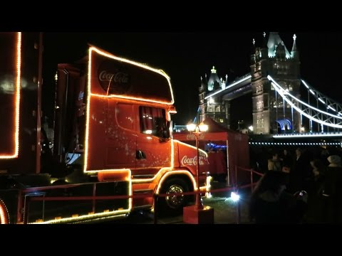 The iconic Coke Truck @ Tower Bridge London + Coca-Cola Christmas Song Holidays are coming