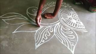 Hand Art Simple Bengali Alpana Design