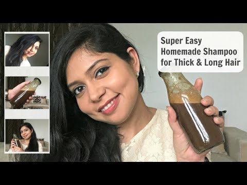 How to GROW LONGER AND THICKER HAIR SUPER EASY WITH HOMEMADE NATURAL HERBAL SHAMPOO in Hindi