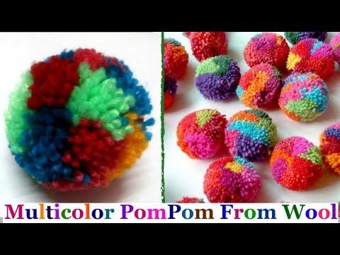 Multicolor Pom Pom Making-How to make yarn/wool pompom step by step at home|DIY Yarn/Wool craft idea