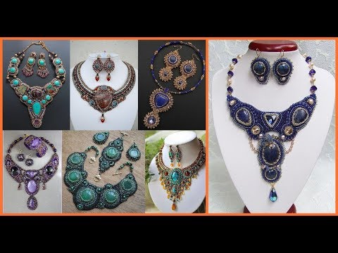handmade beaded jewelry sets=unique beaded jewelry designs 2018=beads earrings and necklaces