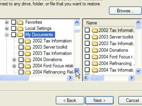 Restoring files using NTbackup or Windows XP Backup