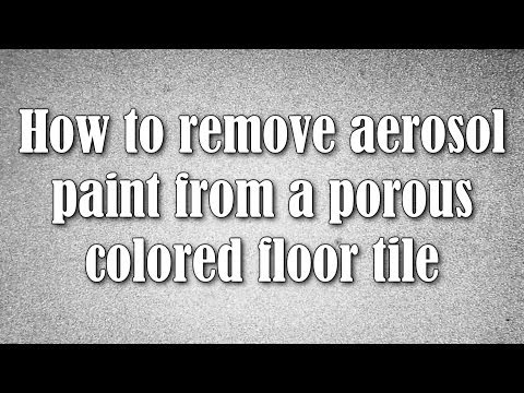 How to remove aerosol paint from a porous colored floor tile