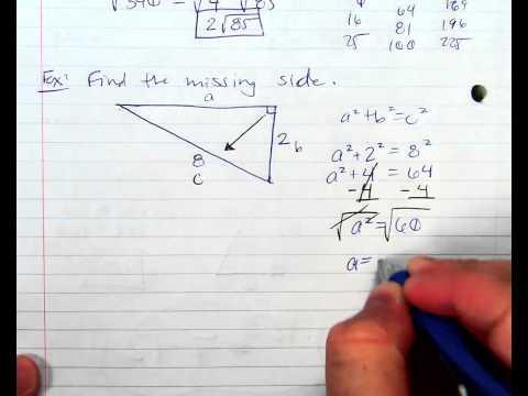 Pythagorean Theorem Solving for A or B