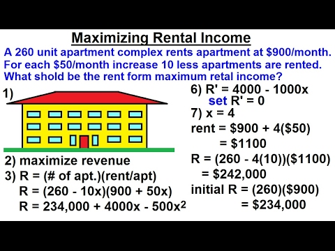 Calculus 1: Max-Min Problems (15 of 30) Maximizing Rental Income