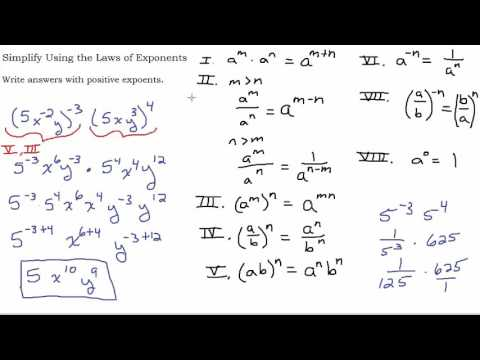 Using the Laws of Exponents - Multiple Step Problems
