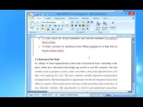 TU BBA Internship Report Format