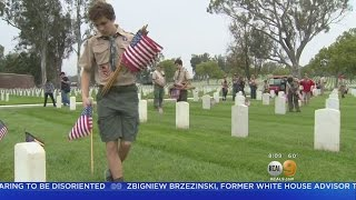Scouts Place Flags On 88K Vets' Graves At LA National Cemetery