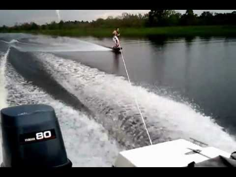 beginner wakeboarder trick and jump attempts