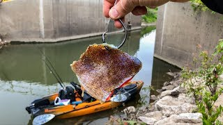 I Thought I Was SNAGGED!!! (Kayak Fishing a Creek Spillway!) - Old Town Sportsman 106 Powered By MK